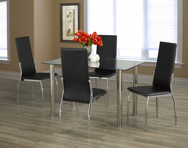 Simple Glass Top Table Set with Black Contrast Stitching Leatherette chairs