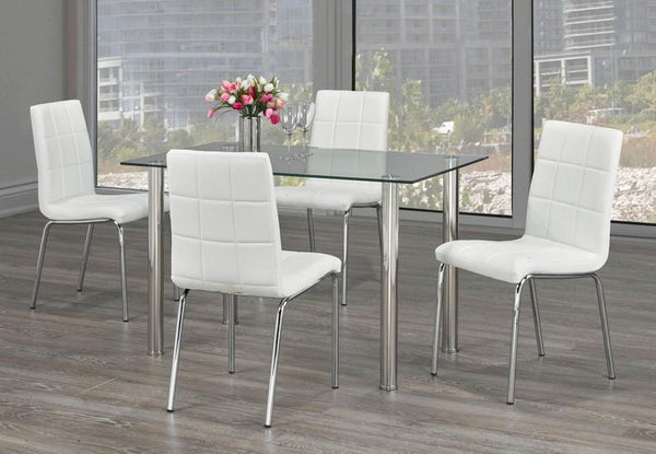 Simple Glass Top Table Set with 4 Legged White Upholstered Chairs