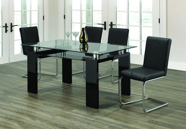 Clear Glass Top Black Table with Frosted Bottom Glass Paired with Black Upholstered Seats