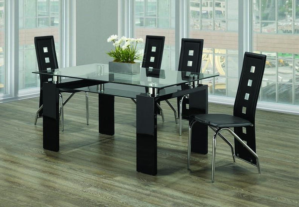 Clear Glass Top Black Table with Frosted Bottom Glass Paired with Black Checkered Leatherette Chairs