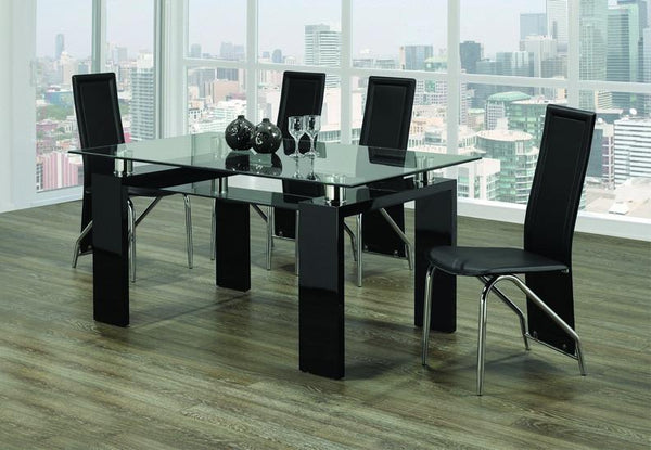 Clear Glass Top Black Table with Frosted Bottom Glass Paired with Black Leatherette Chairs