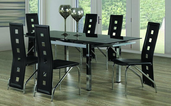 Tempered Glass Table with Extendable Leafs and Black Checkered Leatherette Chairs