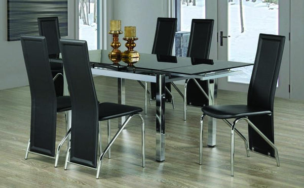 Tempered Glass Table with Extendable Leafs and Black Plain-Back Leatherette Chairs