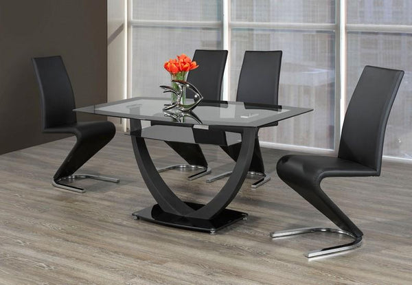 Tempered Black Trim Table Top Glass with Metal Base and Upholstered Black 'Z' Shaped Chairs