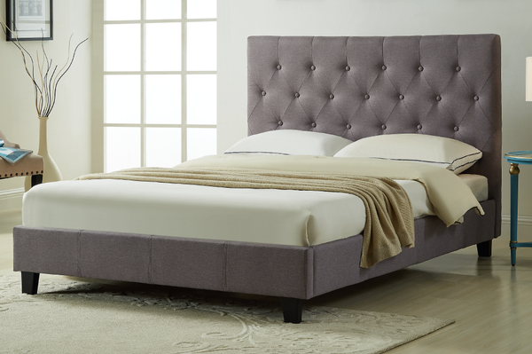 Linen-Style Fabric Platform Bed with Tufted Headboard
