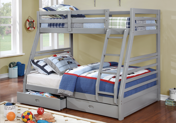 Grey Twin/Double Solid Wood Bunk bed with 2 Drawers