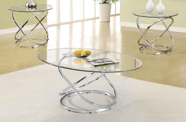 Sophisticated Chrome and Glass Coffee Table Set