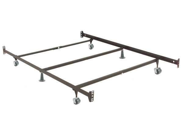 Queen/King (Adjustable) Metal Bed Frame with Headboard and Footboard Attachment Brackets