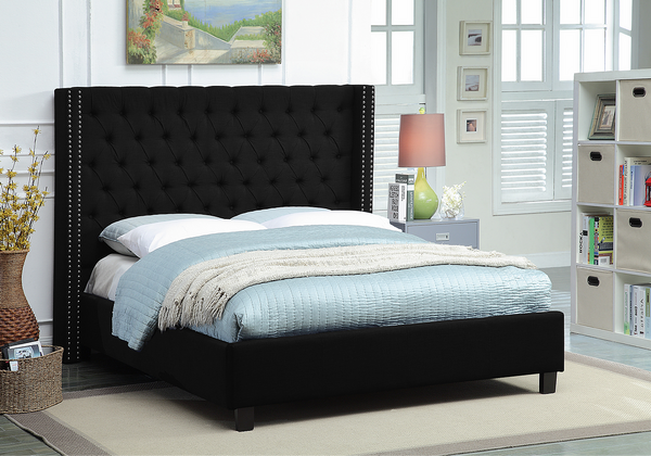 Black Wing Bed with Deep Button Tufting and Nailhead Details