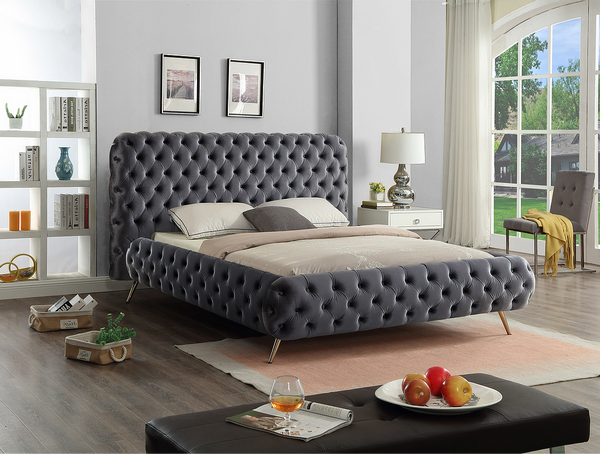 Grey Velvet Fabric Bed with Extra Deep Button Tufting and Sleek Chrome Leg