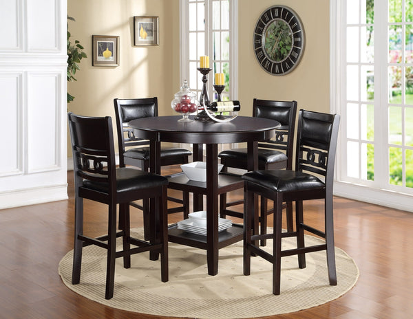 Dominique Dining Set In Espresso Solid Wood With Counter Height Table And Chairs