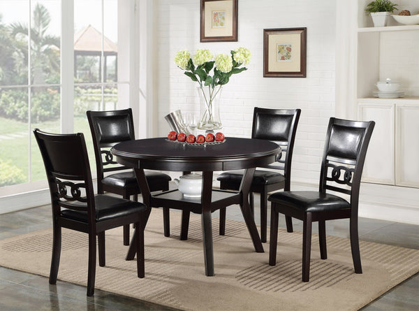 Dominique Dining Set in Espresso Solid Wood and Ebony Leatherette Chairs