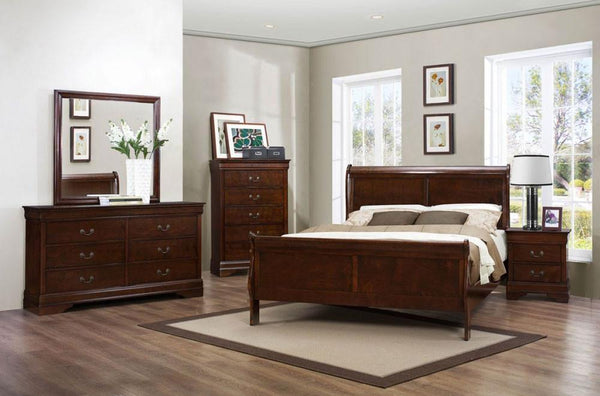 Dark Cherry Sleigh Bed Bedroom Set