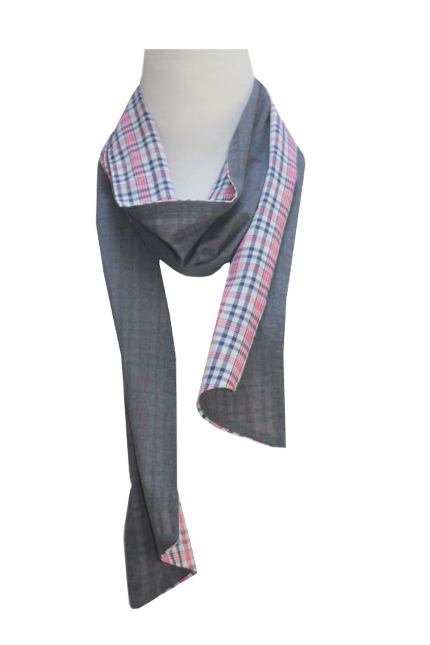 Check & soft grey Scarf | 100% Cotton