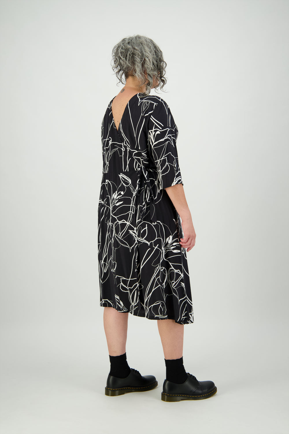 Black & White | Floral | Lucy Wrap Dress