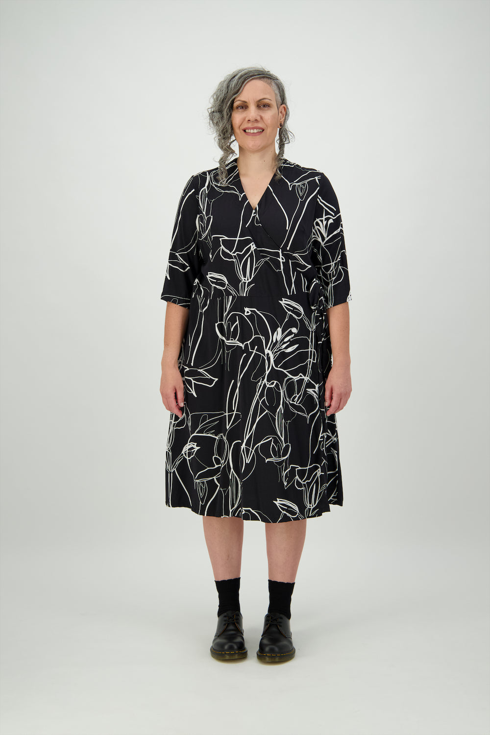 Black and White Large Floral Design Lucy Wrap Dress