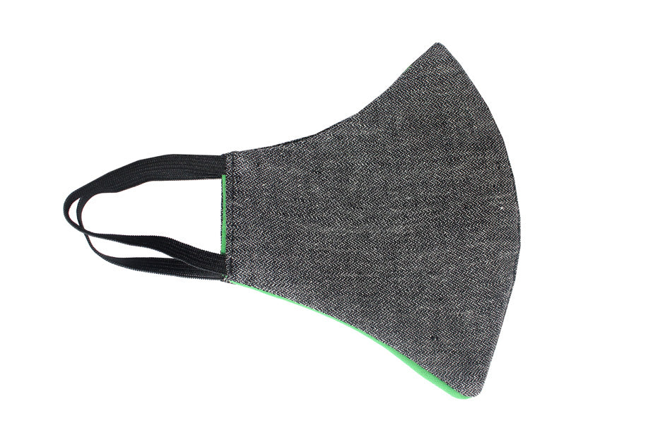 XtraComfort | Face Mask | Triple Layer | Reusable, washable, reversible | Black & green