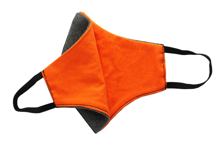 Face Mask | Triple Layer | Reusable, washable, reversible | Black & Orange