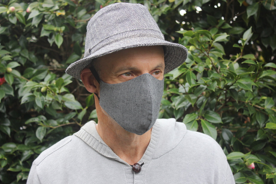 Face Mask | Triple Layer | Reusable, washable, reversible |  Black & Grey