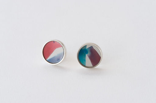 Joanna Campbell | Stud Earrings | Hand painted | Blush and Crimson | 14mm