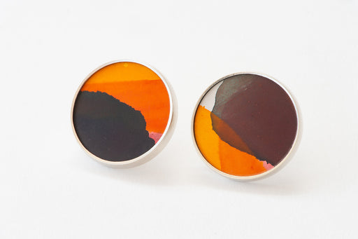 Joanna Campbell | Stud Earrings | Hand painted | Orange and Grey | 25mm