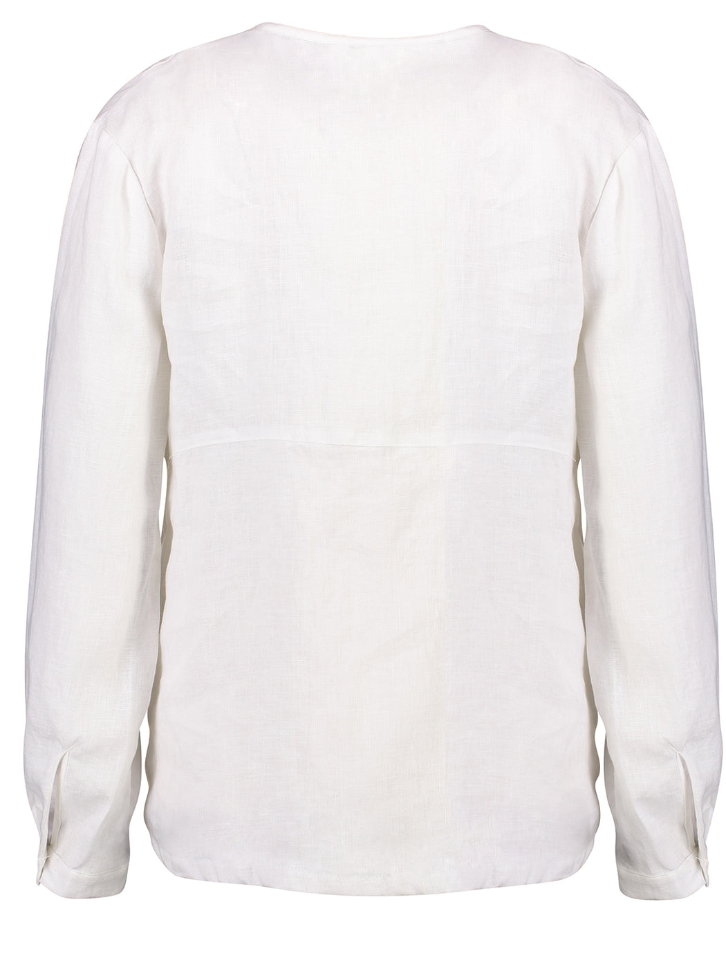 Capital Placket Shirt | White | Linen