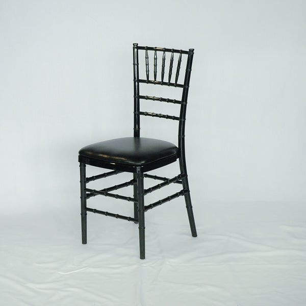 Black resin banquet chair with cushion