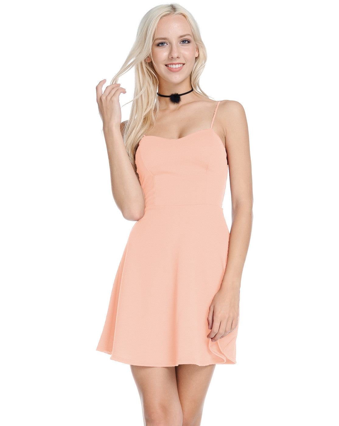 A line cami dress (peach)