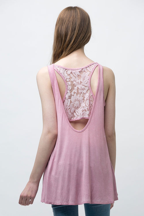 Sleeveless Tunic Top with Lace detail