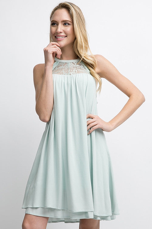 Babydoll Dress with Lace Detailing