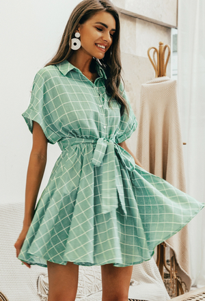 Sweet Anne Green A-line Dress - ATC Clothing
