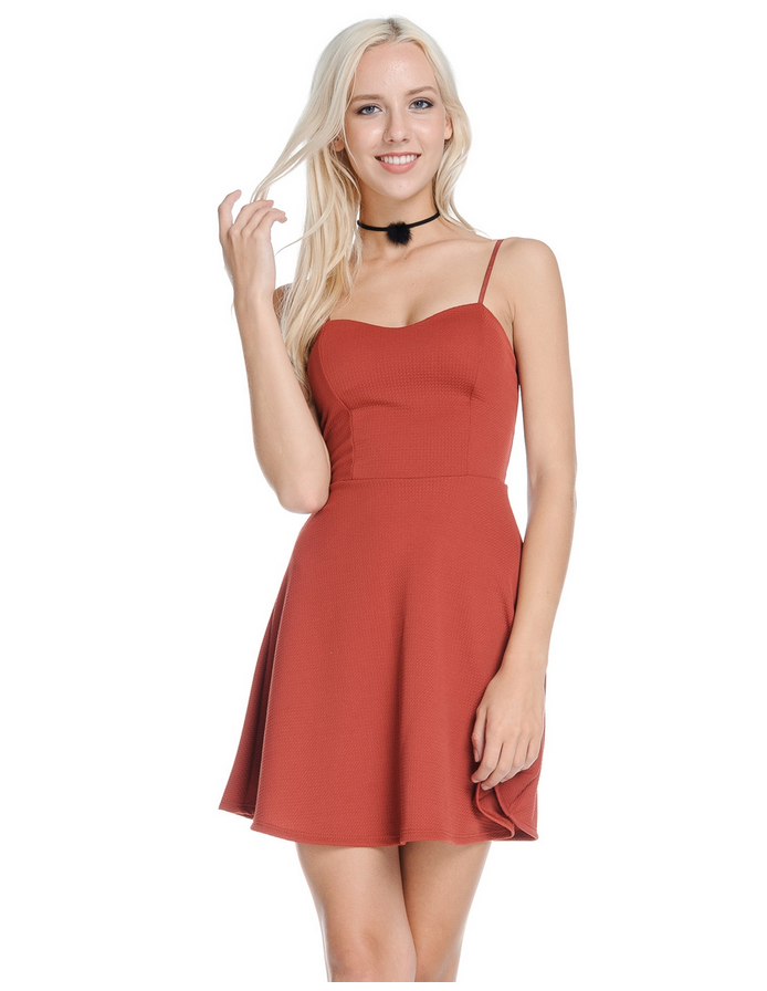 A line cami dress (rust)