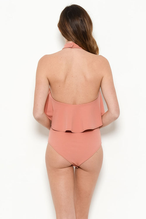 Rose ruffle body suit, back view