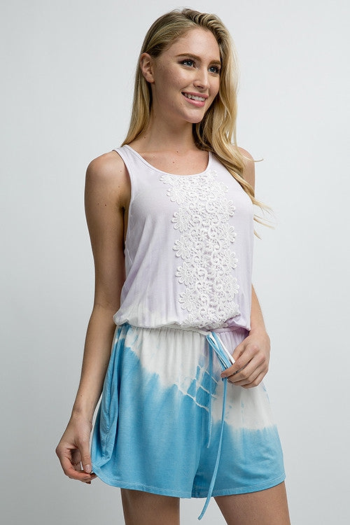 Tie Dye Romper with Lace
