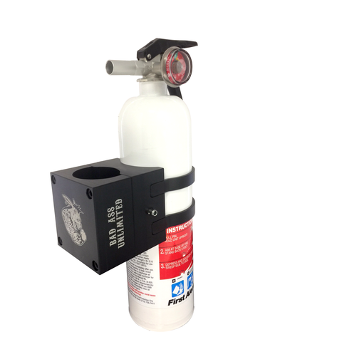 Bad Ass Unlimited Fire Extinguisher quick release with 2.5 LB Chrome Extinguisher
