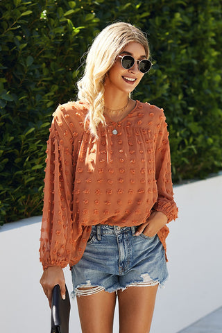 Clementine V-Neck Top (Orange or Navy)