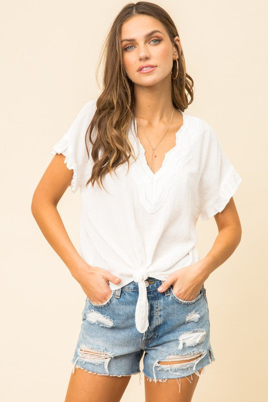 Emily Ruffle Trim Top