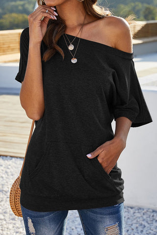 Lina One Shoulder Top - Black or Blue