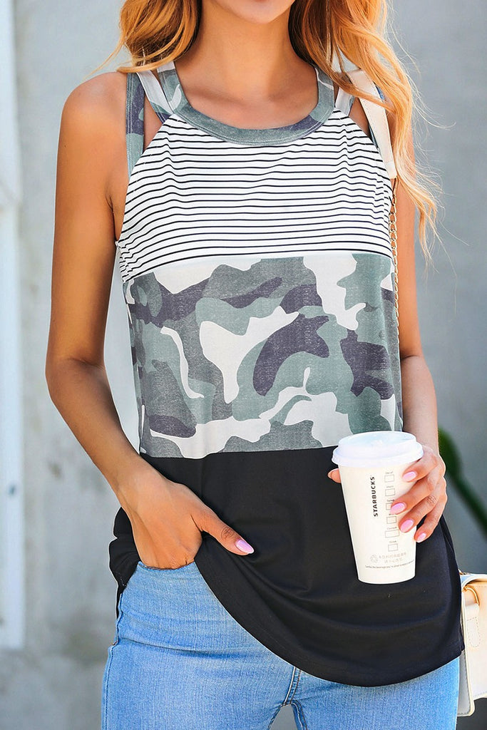 Evie Sleeveless Camo Top