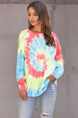Talia Tie Dye Top in Coral