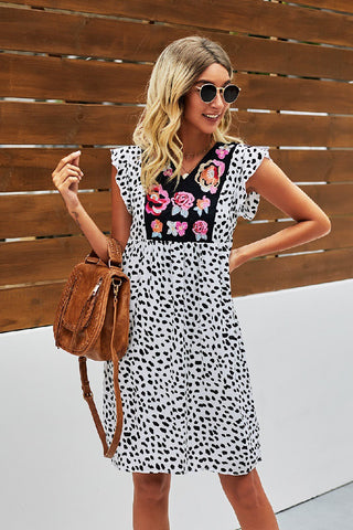 Poppy Floral Polka Dot Dress (White, Black, Red, Khaki)