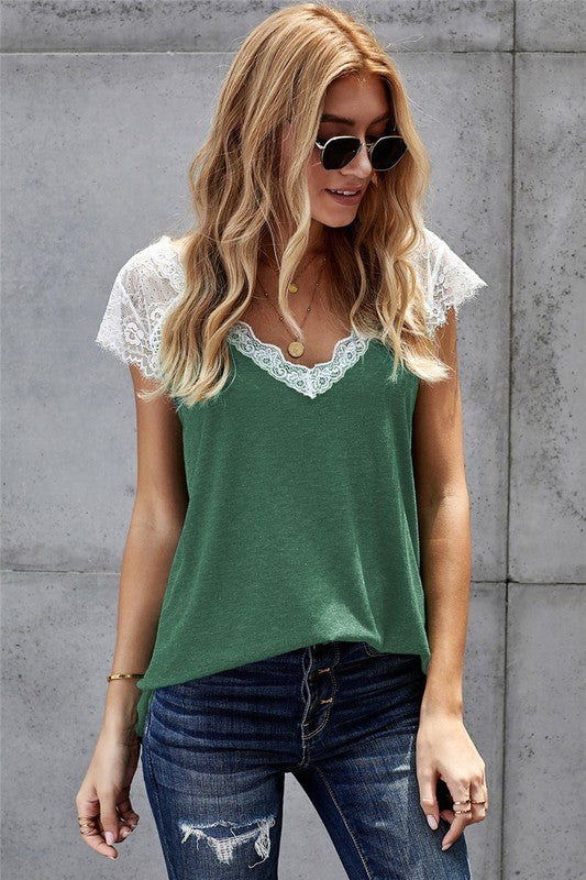 Autumn Lace Tee (Green)