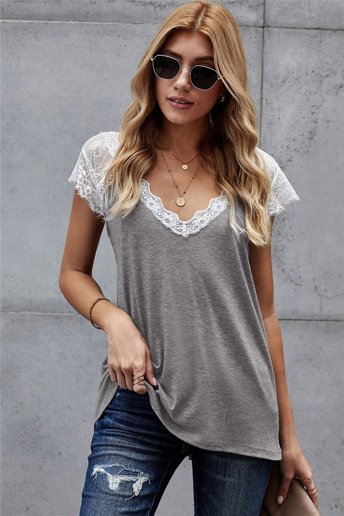 Autumn Lace Tee (Grey)