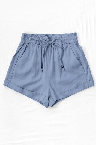 Oliver Linen Shorts in Blue Stone