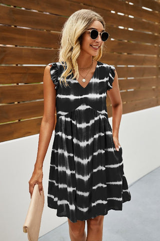 Greta V-Neck Tie Dye Dress in Black