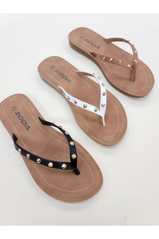 Charlotte Studded Flip Flop in Black - Pre Order, Limited quantities!