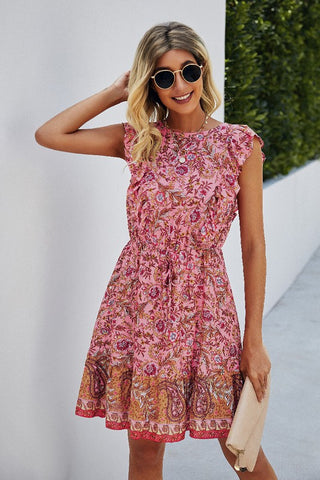 Remington Crew Neck Floral Sleeveless Dress
