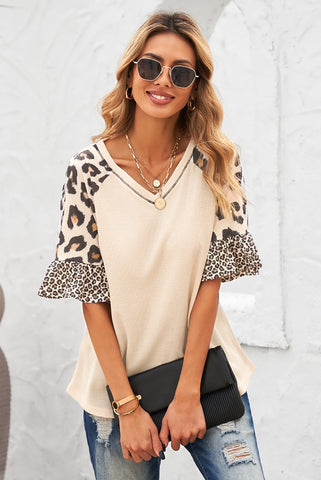 Tia Leopard Ruffle Sleeve Top - Pre Order ends 5-15 at noon!