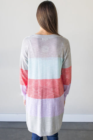 Char Color Block Long Sleeve Cardigan