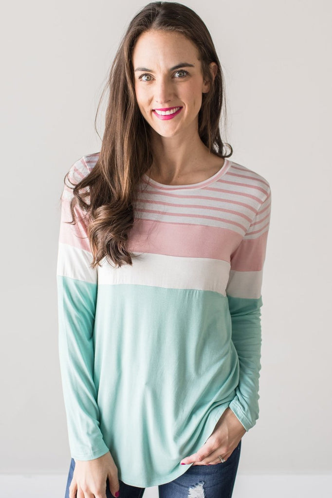 Z-Eliza Long Sleeve Contrast Top